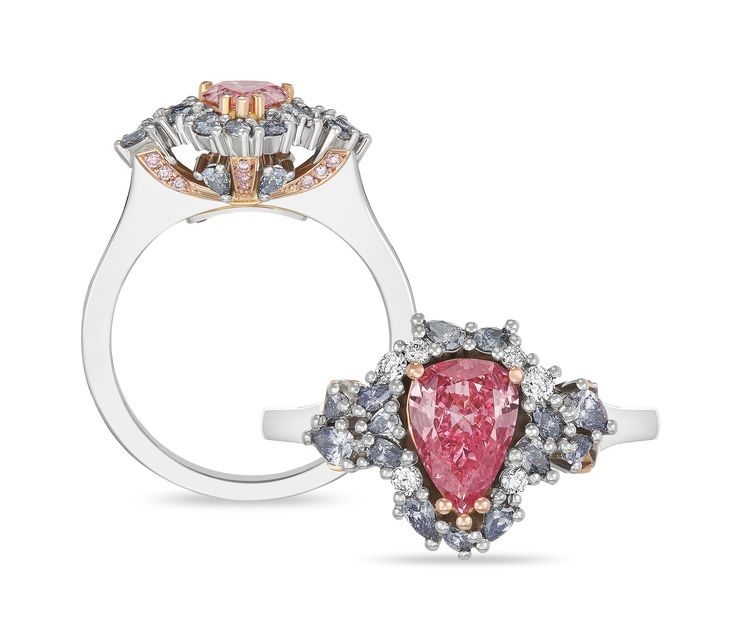 Handcrafted in platinum and 18ct rose gold, this stunning ring features a rare pear shape Argyle Pink Diamond from the Argyle Pink Diamonds Tender. This coveted diamond is surrounded by a halo of Argyle blue and brilliant white diamonds. Simply stunning! enquries@rohanjewellery.com
