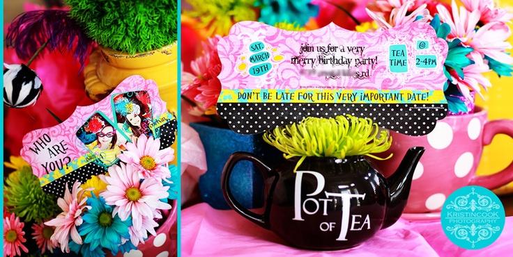 Tea party!Polka Parties, Teas Pots, Pots Parties, Pots Teas, Cool Ideas, Parties Ideas, Floral Teas, Bright Colors, Teas Parties