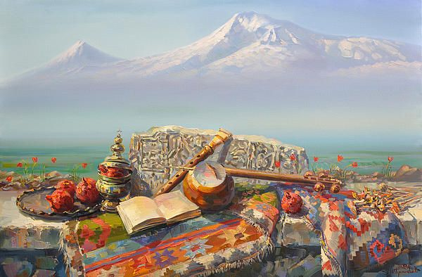 Ararat with kamancha and duduk. Armenian still life with Ararat mountain in background. In this composition have used many subjects of Armenian culture. Armenian paintings by Meruzhan Khachatryan