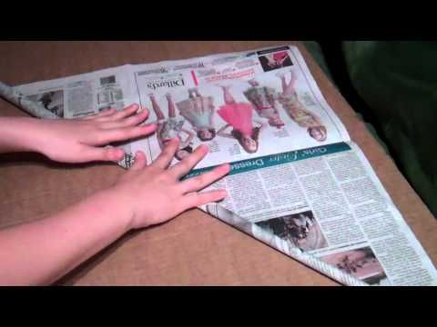 Newspaper Dowel YouTube Tutorial  start rolling from the corner with a straw, remove the straw and keep rolling, secure with tape