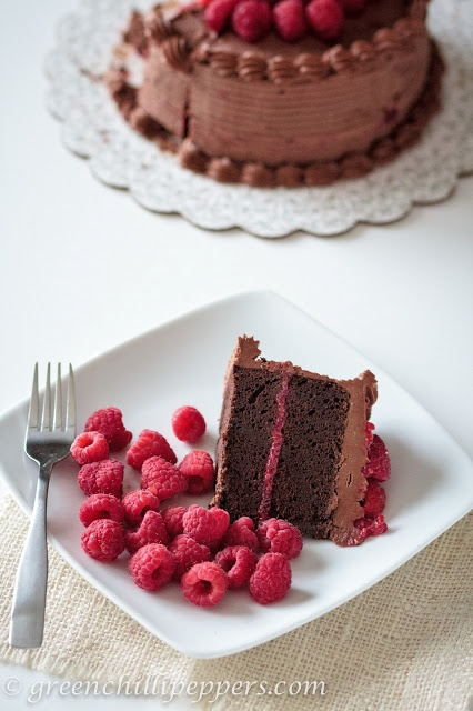 Chocolate Raspberry Cake with Chocolate Cream Cheese Frosting