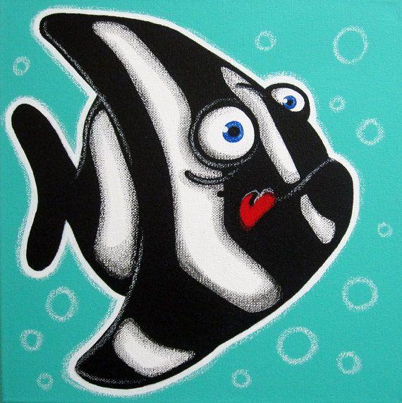 zeb tha poisson peinture sur toile pour b b ou enfants art de poissons poissons peinture. Black Bedroom Furniture Sets. Home Design Ideas
