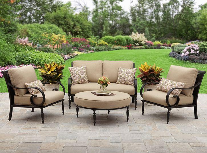 Better Homes and Gardens Englewood Heights II Aluminum 4-Piece Patio Conversation Set, Seats 4
