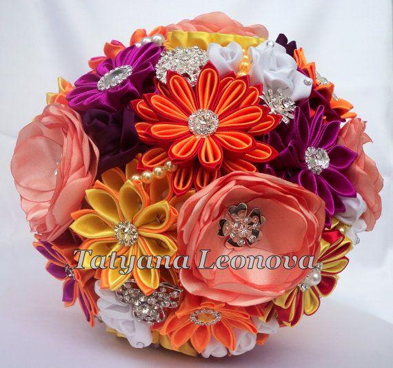 Fabric Wedding Bouquet Brooch bouquet Sofia Orange by LIKKO, $75.00 (I lovethe purple and orange kanzashi flowers)