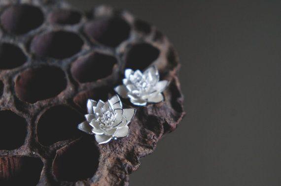 Lotus earrings sterling silver earrings flower stud by TheManerovs