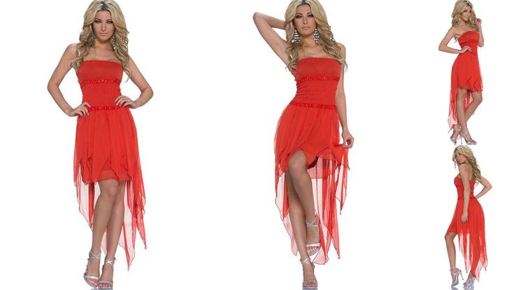 WOMENS LADIES RED CHIFFON ASYMMETRIC BOB TUBE BANDEAU STRAPLESS DRESS SIZE 8 10  | eBay