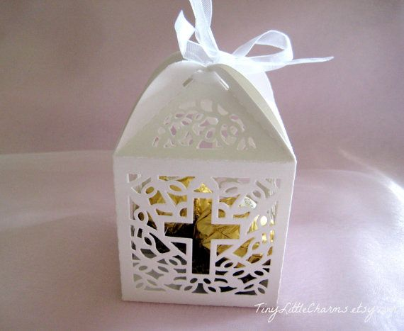 Holy Cross White Favor Boxes for Christening Favors, Baptism Party, First Communion Celebration, Set of 12