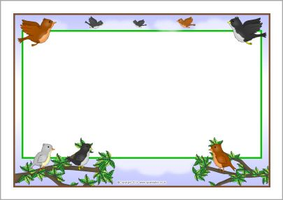 Birds A4 page borders (SB10168) - SparkleBox