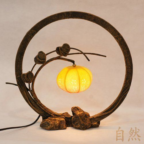 Mulberry Rice Paper Ball Handmade Flower Bud Design Art Nouveau Shade Yellow Round Globe Lantern Brown Asian Oriental Decorative Bedside Floral Accent Unusual Table Lamp by Antique Alive, http://www.amazon.com/dp/B004WQJY3W/ref=cm_sw_r_pi_dp_CUg1qb1BN446P