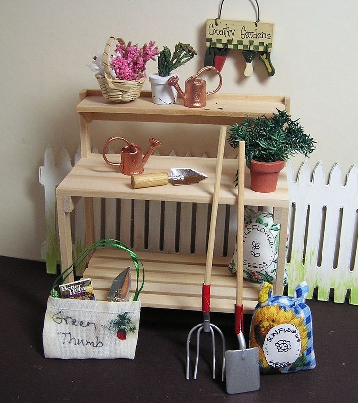 Miniature Dollhouse Furniture Lot Gardening Supplies 1 in scale