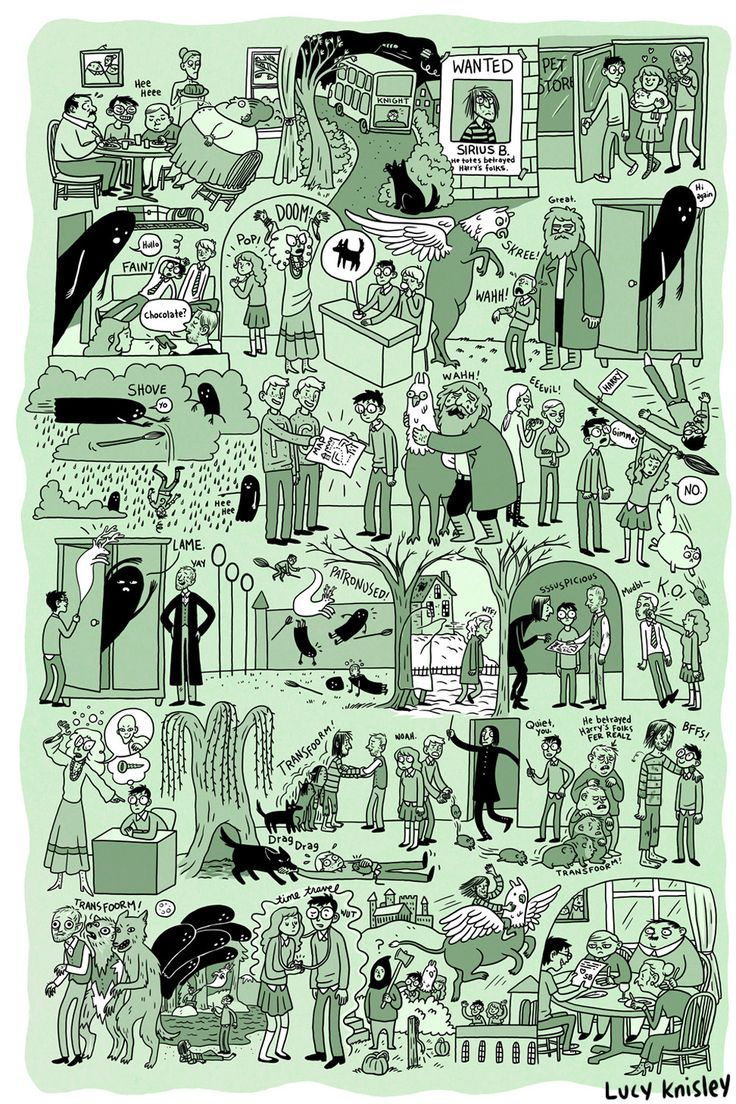 AWESOME summaries of the Harry Potter books by comic artist Lucy Knisley.  You can download the files and print them yourself!