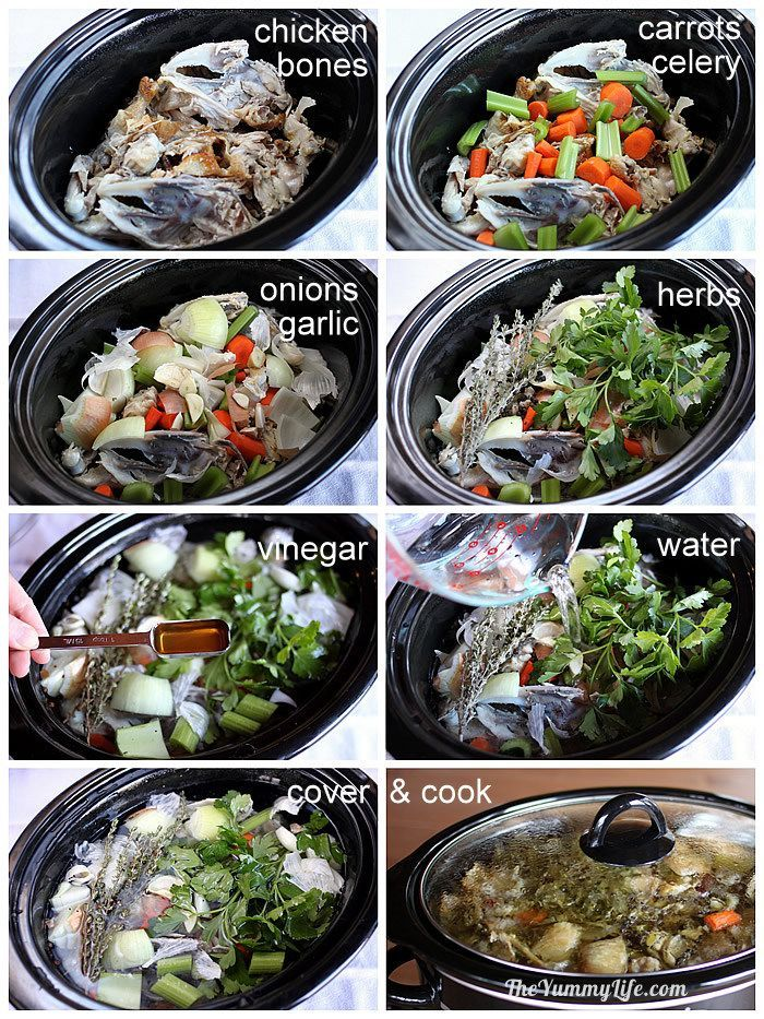 Slow Cooker Chicken Broth-make homemade to retain nutrients and control salt. Makes 12 cups/3qts. Can freeze.