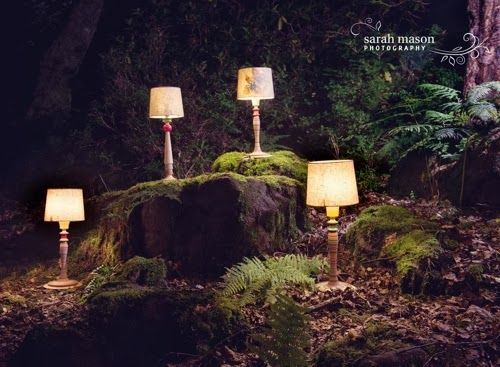Lampshade shoot in the wood by Hannah Nunn/Sarah Mason/Radiance Lighting