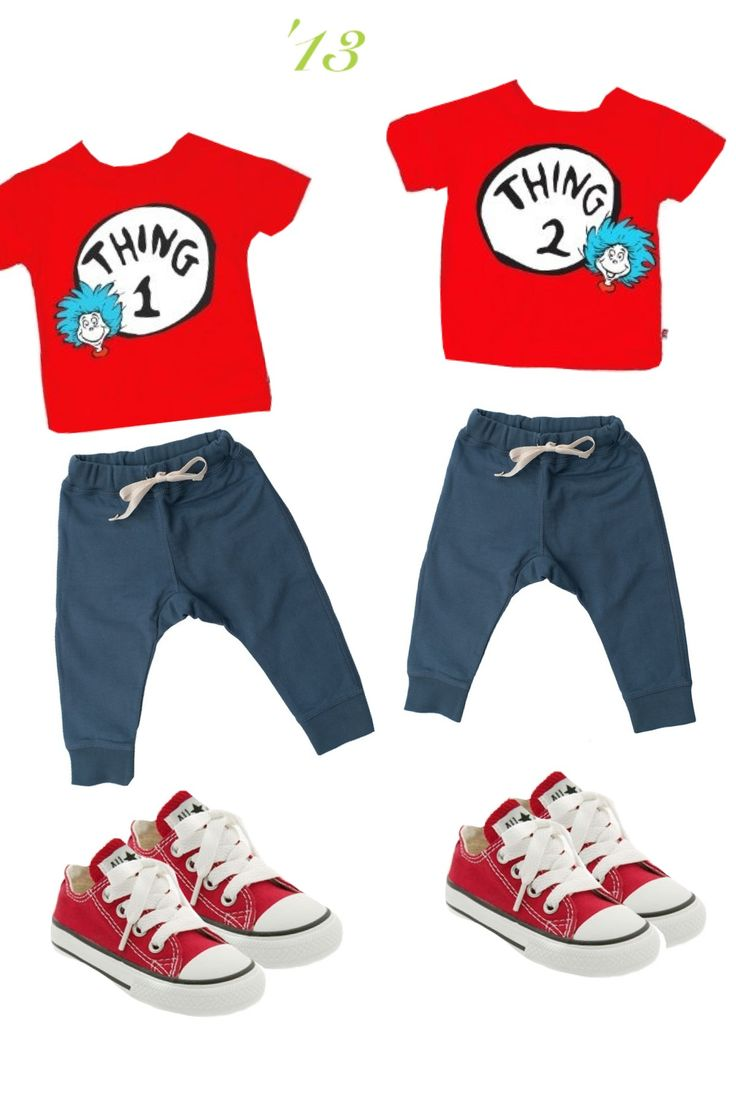 Thing 1 and thing 2 outfit combos for toddler twins