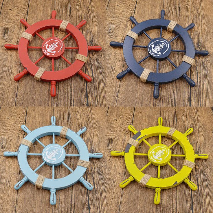 Nautical Boat Steering Wheel Rudder Home Wall Hanging Decor Multicolor Wood