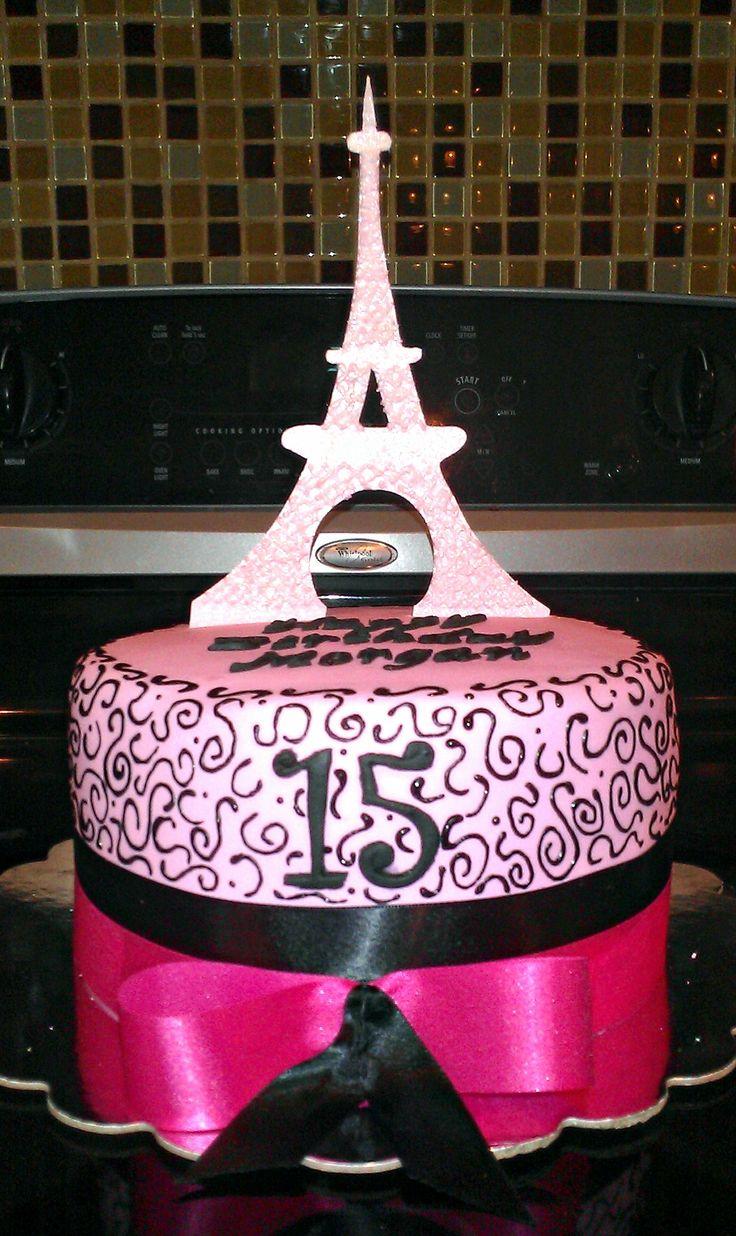 Paris themed birthday party ideas - Paris Themed Birthday Cake Eiffel Tower Is Made Of Edible Sugarpaste Inside Of Cake