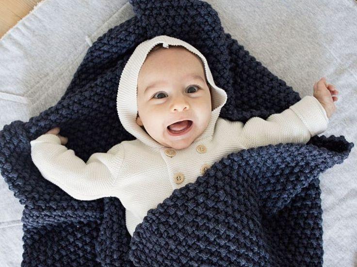 DIY-Anleitung: Babydecke im Perlmuster stricken via DaWanda.com Mehr