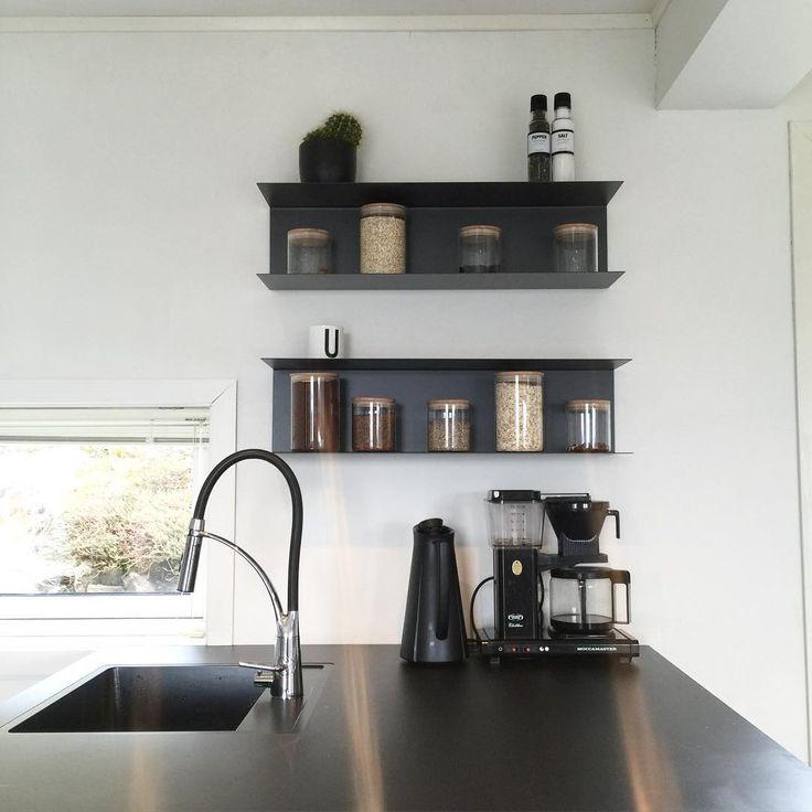 Ikea 'Botkyrka' wall shelves in black @kubehus | Haus küchen