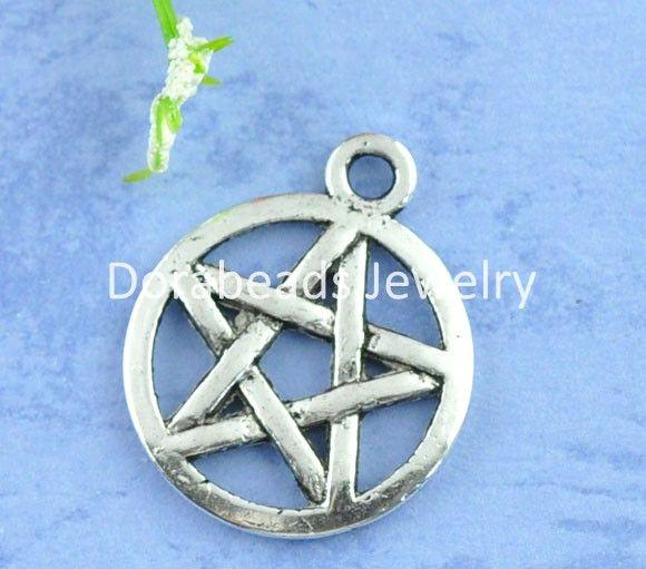 Doreen Box Lovely 50 Silver Tone Pentagram Charms Pendants 20x17mm (B07776)