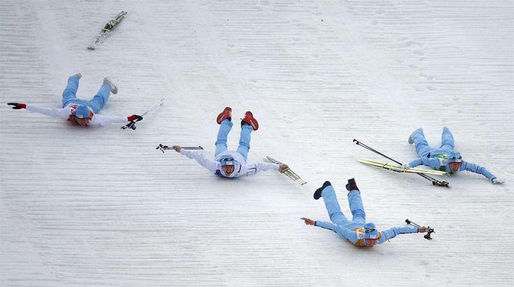 Norwegian Skiers Slide Headfirst into Gold (Photo: Michael Dalder / Reuters)