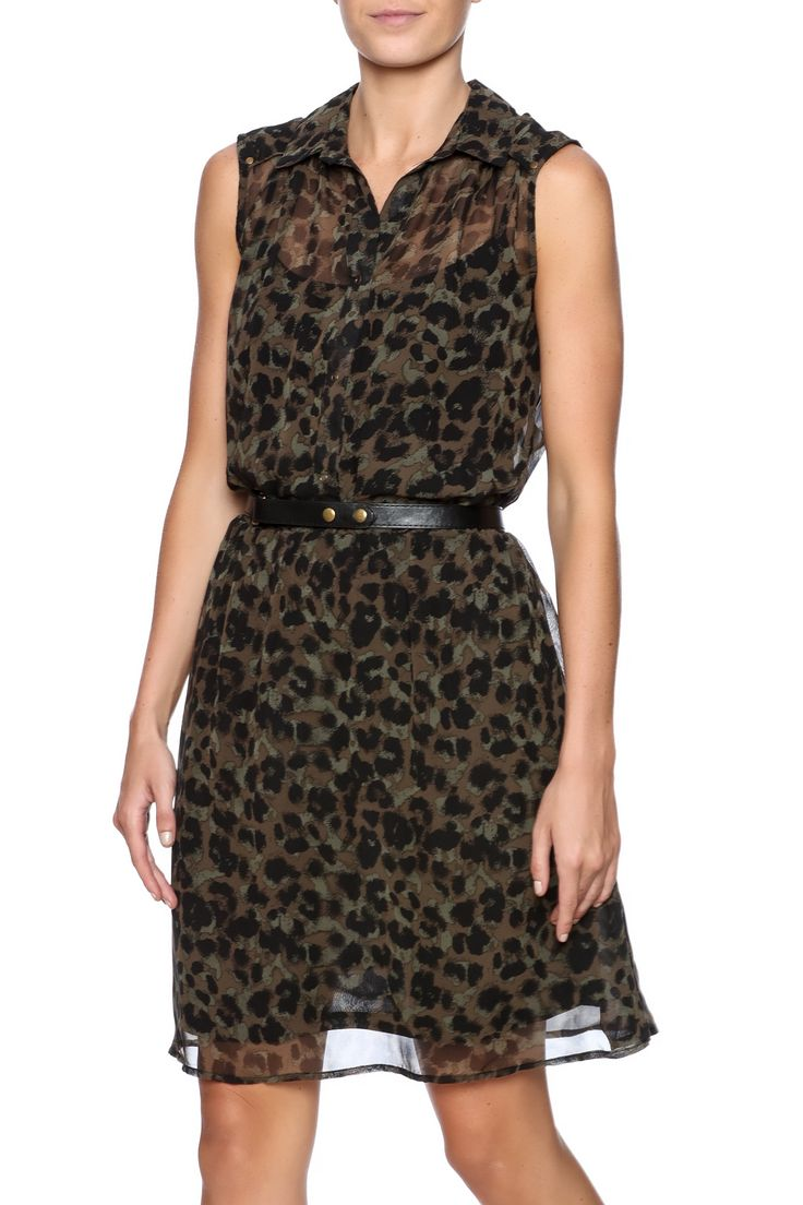 Black and green cheetah print shirtdress with a collared neckline, button front closure, and full lining. Black belt included.   Belted Cheetah Dress  by Dex. Clothing - Dresses - Printed Clothing - Dresses - Casual Illinois