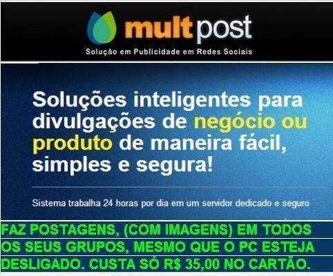 Soluções Inteligentes para divulgação de negócios ou produtos de maneira fácil, simples e segura. http://revenda.multpost.com.br/index.php?ref=lopespt