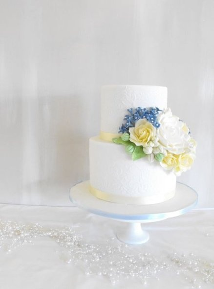 Blue and yellow wedding cake  Cake by EstherS
