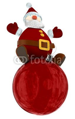 3D Santa Claus standing on top of a big red Christmas globe