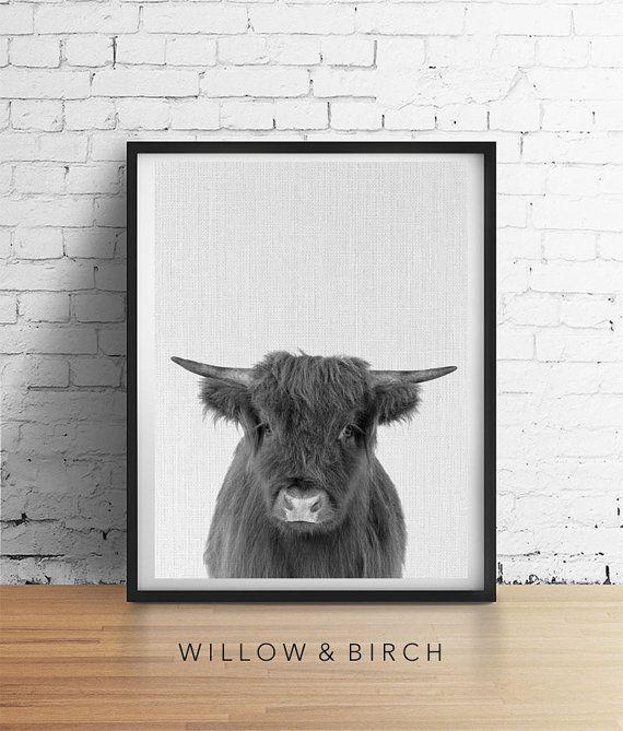 Boerderij Glam koe afdrukbare Art kwekerij koe Print Decor