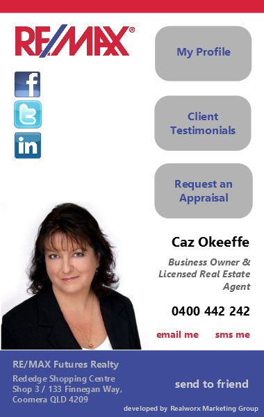 Caz OKeeffe Remax iCard by Realworx Marketing. Mobile App Design and Development Australia New Zealand USA UK