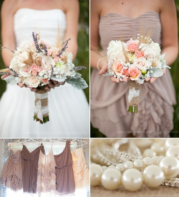 Southern bouquet and neutral mixed dresses