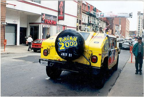 A Hummer advertising Pokémon the Movie 2000, parked on Montreal's Crescent street during Canadian Grand Prix festivities in June 2000.  Notice that it is parked in the absolute most suitable, age-appropriate venue to advertise a children's cartoon mo See how to auto pin images!   visit: http://socialpagemagic.com/1