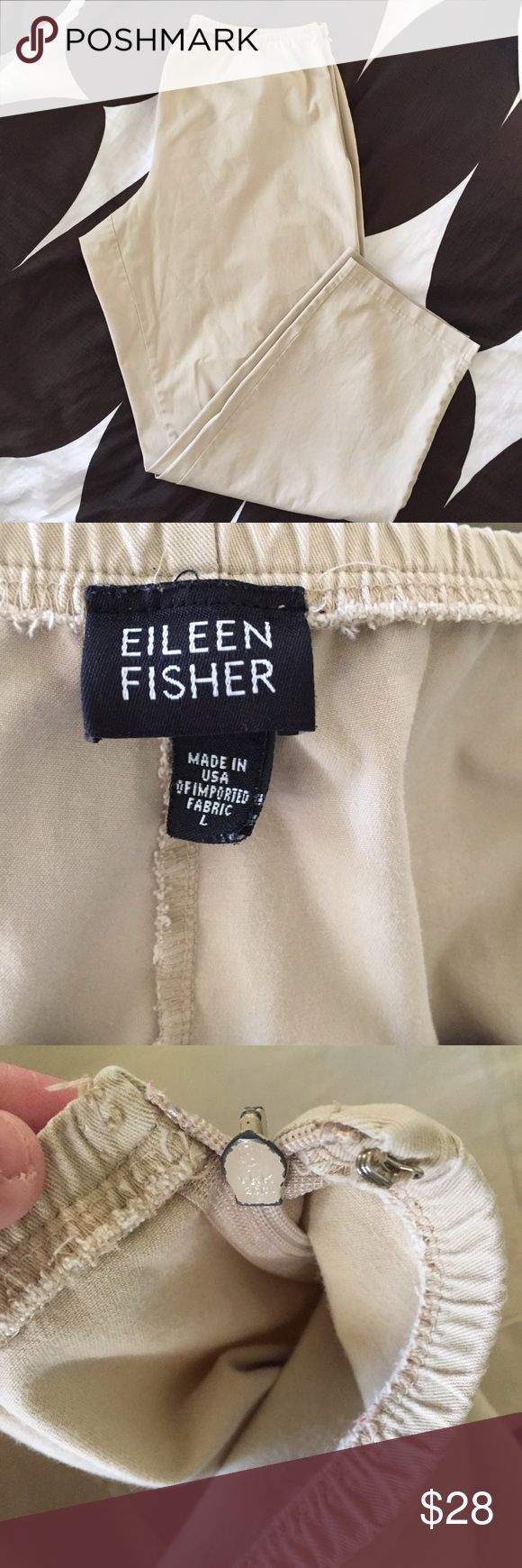 EILEEN FISHER Large Khaki Capri Crop Pants EILEEN FISHER Large Khaki Capri Crop Pants  Size: large No pockets  -Side zip closure but missing hook -Zipper is tarnished -black spots at the back of both legs (Please see photos)  Materials: 92% Cotton 8% Lycra  Measurements: Waist: 16in Hips: 22in Rise: 10in Inseam: 28.5in Length: 37in Eileen Fisher Pants Capris