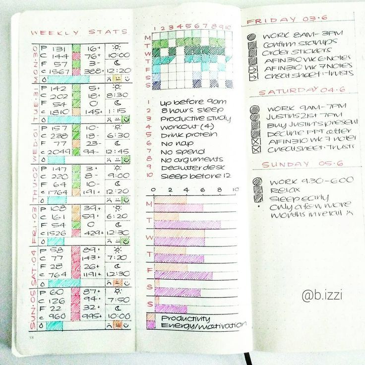 WEEKLY STATS // The inner pages of the Dutch door contains macro tracking (actual v variance and colour rating for good, OK, and bad), wake and sleep times, habit tracker with number references for the list below it inspired by @susiebjournal, and productivity x energy graph. You can actually pinpoint the exact moment my week begins to detoriate haha, I was going so well (I blame retail haha) #bulletjournal #bulletjournaling #bulletjournaljunkies #planning #planner #planneraddict #bujo #b...