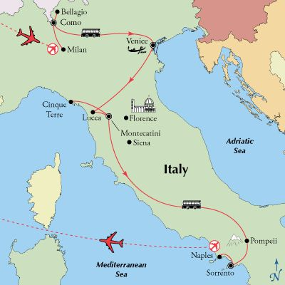 Majestic Italian Lakes, Venice's canals, Tuscany's vineyards, Amalfi Coast views, this Northern Italy tour with Tuscany and Amalfi will delight your senses.