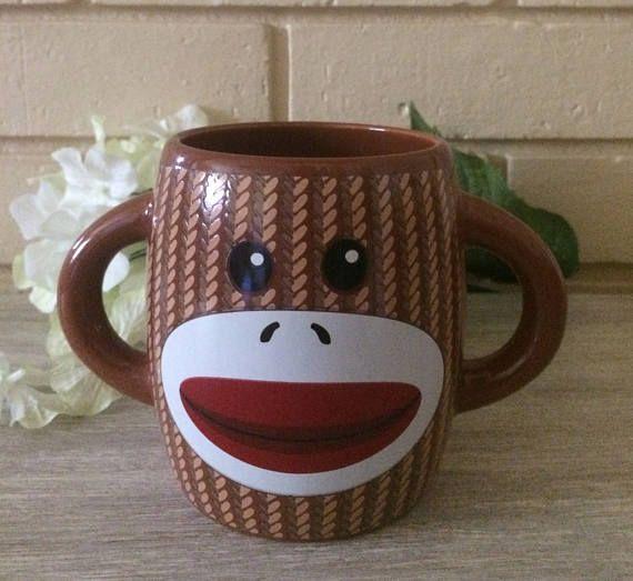 Vintage Ceramic Double handle Coffee Mug Sock  Monkey coffee