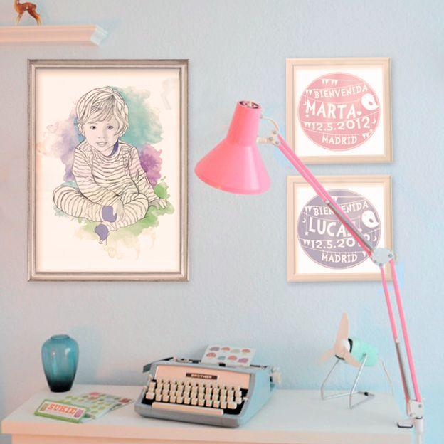 Retratos y láminas personalizadas para la habitación de los peque de la casa.