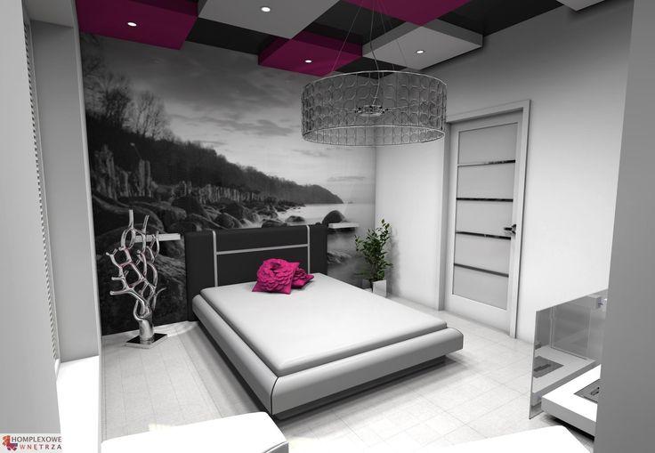 Aranżacja sypialni wystrój nowoczesny w kolorach biały, czarny, różowy - projekt wnętrza o id 6629137 w Homplex.pl, Zestaw wyposażenia za 15604 zł ($4876)