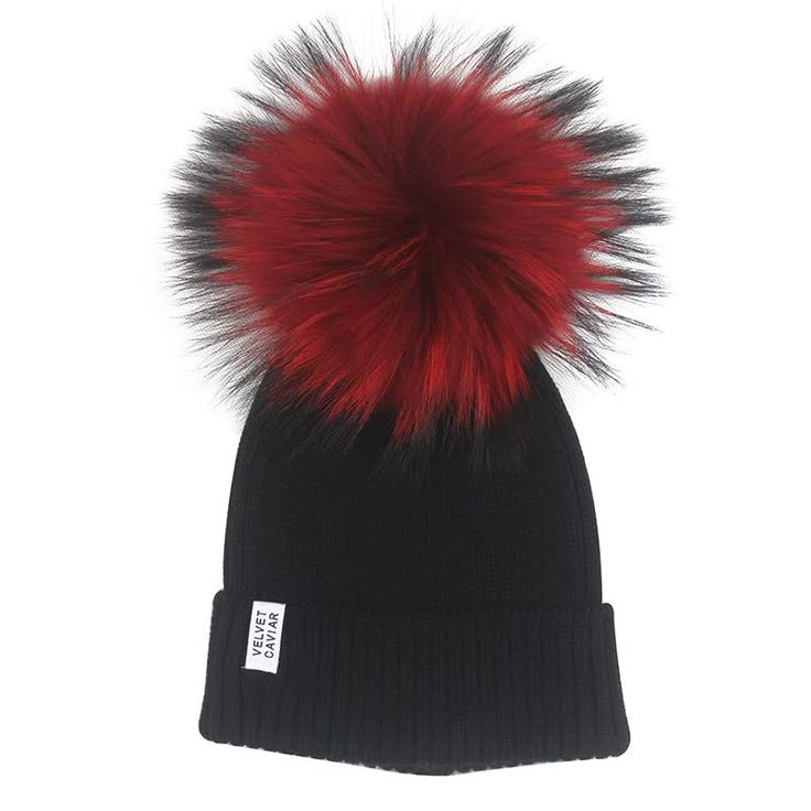 Limited Edition Black Beanie With Red Fur | Velvet Caviar