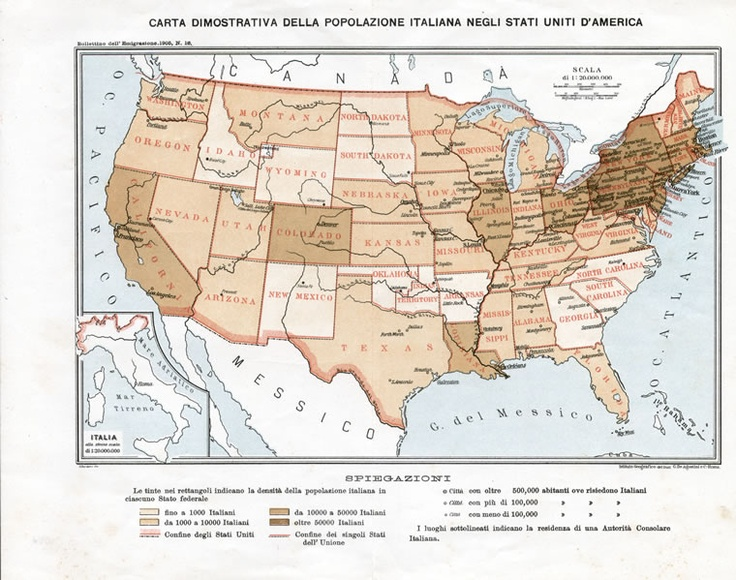 Popolazione italiana negli USA al 1905 -  Più di 10 milioni di italiani sono partiti dal Sud e dalle isole, 5 milioni dal Centro, 5 milioni e mezzo dal Nord Est, 5 milioni dal Nord Ovest. In prevalenza: Veneti, Campani, Siciliani, Lombardi, Piemontesi e Calabresi. I paesi che ne hanno accolto il maggior numero sono stati: Stati Uniti d'America (circa 6 milioni), Francia (4 milioni e mezzo), Germania (2 milioni e mezzo), Brasile (1 milione e mezzo) e Canada (più di mezzo milione).