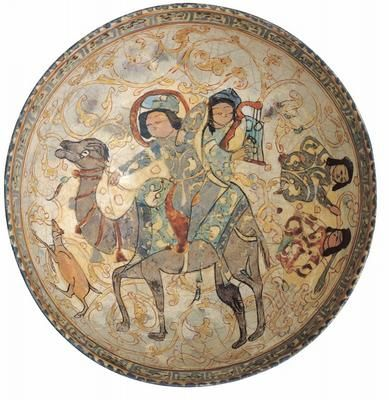 IRAN, KASHAN Seljnk period 1038-1194  Bowl, with story of Bahram Gur  early 13th century, Kashan  stone-paste earthenware, underglaze & lustre decoration