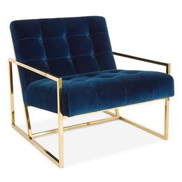 Minimalist Comfort.  Pared down geometry in polished brass meets swanky navy velvet in our Goldfinger Collection.  A little bit '70s, a lot today.  Goldfinger is the winning ticket that adds Modernist rigor to your Park Ave pad or swanks up your Mid-Century abode.  The pitched seat and soft, button-tufted cushions make our Goldfinger Chair surprisingly cozy and comfy. #jonathanadler #interiordesign