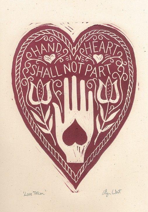 Love Token Hand in Heart Linocut Print by glynwestdesign on Etsy