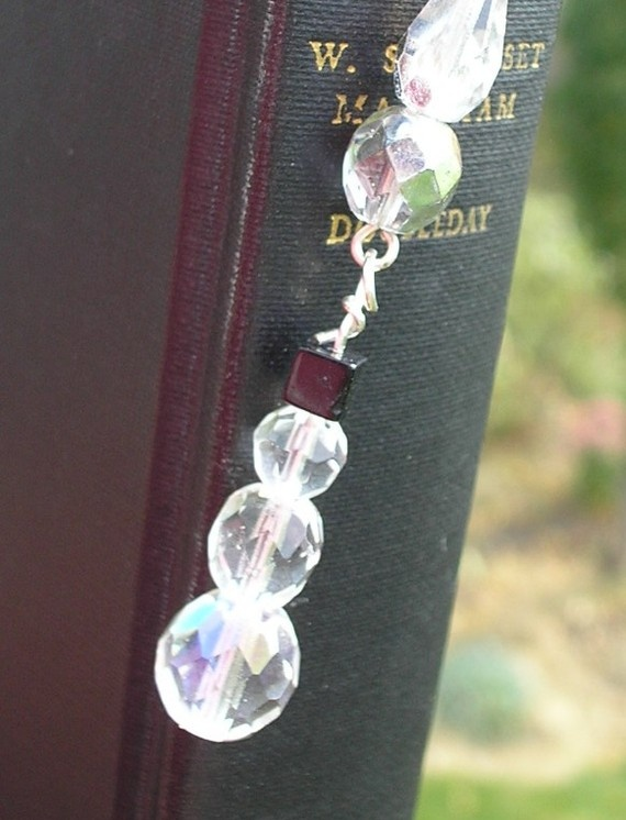 Bookmark Clear and Black Bead Snowman by amystreasures on Etsy, $15.00