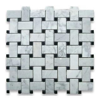 """Stone Center Corp - Carrara White Marble Basket-Weave Mosaic Tile With Black Dots, Polished - Carrara White Marble 1x2"""" rectangle pieces and Nero Marquina 3/8"""" dots mounted on 12x12"""" sturdy mesh tile sheet"""