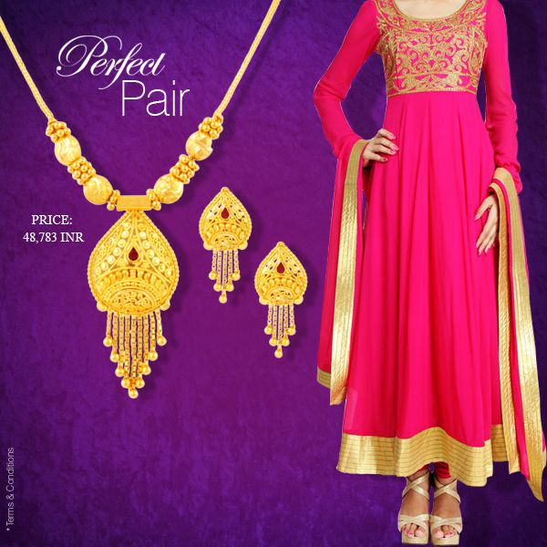 Salwar with Gold necklace set #MehrasonsJewellers #GoldNecklace #IndianJewellery