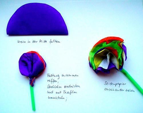 Lieder/basteln-Muttertag-Seidenblumen-Beschreibung