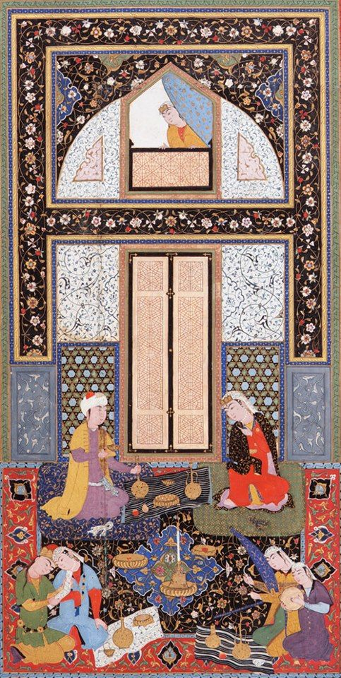 Double-page painting in the Haft Manzar (Seven visages) by Hatifi (d.1521)