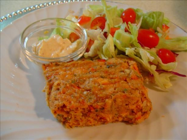 Baked Salmon Loaf from Food.com:   This is a quick, easy recipe to make. Very delicious and very satisfying. I serve it with peas and cinnamon applesauce.
