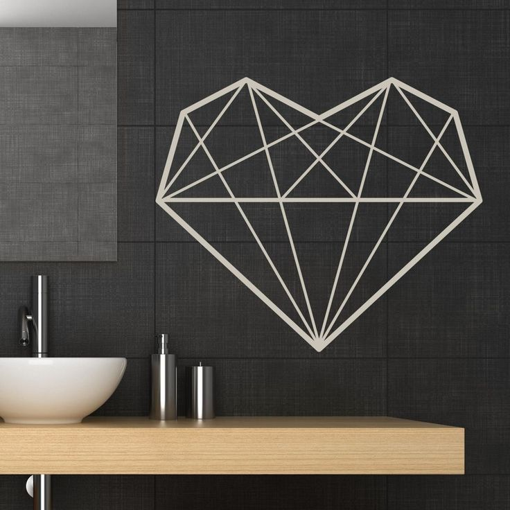 Geometric heart wall sticker decal